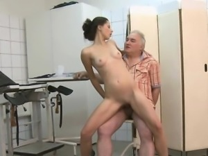 Skinny Patient Shags Dirty Old Doctor With Big Cock