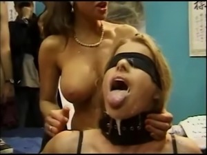 Bukkake for Beautiful Blindfolded Blonde