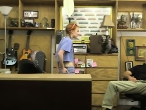Skinny redhead babe pounded by pawn guy in his pawnshop