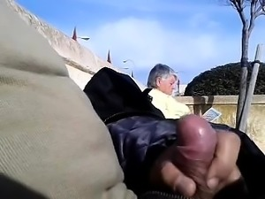 dickflash in entrance of a granny