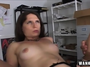 Kinky secretary Lena Ramone has a young man drilling her tight snatch