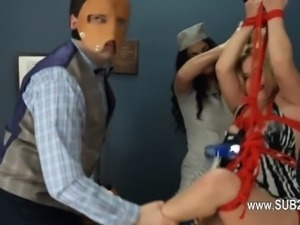 Extreme dildo anal fucking with rope BDSM teacher