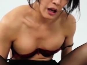 Bareback lingerie japanese tgirl gets creampied