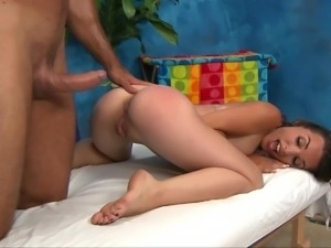 Massage girl penetrated well on massage bed