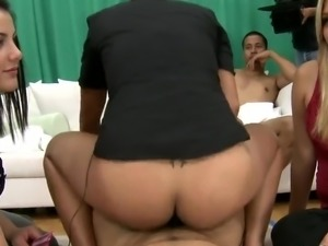 Blowjobs And bonking in CFNM team sex around 3 Kinky gals