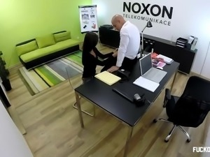 Lucie fucks her boss for a promotion