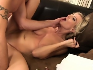Blonde babe Amanda Tate gets pumped hard and swallows his cum