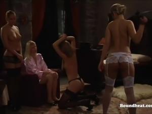 Hot lesbian mistress whips beautiful white slave