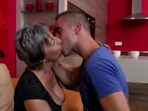 Granny takes young cock after tea