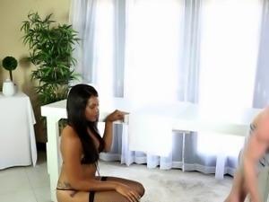 Sucking ebony masseuse
