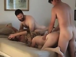 Swingers twist and exchange in foursome that is home made