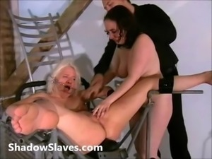 Two slaves bizarre pussy punishments and whip