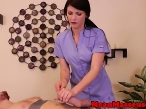 Dominating cbt masseuse jerking pathetic guy