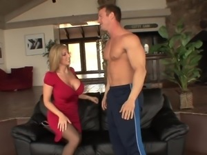 Big facial for blonde big tits in stockings(TOP MILF)
