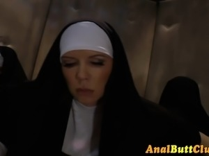 Nuns shove crosses in ass