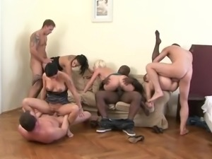 4 babes, 3 whites and one black dick orgy