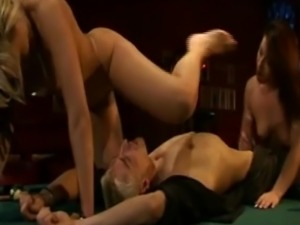 Hot Threesome on the pool table