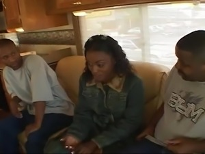Two sexy and sultry black chicks take turns working on their black dude's...