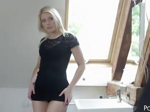 Leggy Czech blonde Sweet Cat teases her partner and make