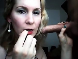 Braided blond slut gags herself on a heavy stick of meat be