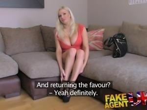 FakeAgentUK Understudy joins in Threesome with busty blonde UK porn legend