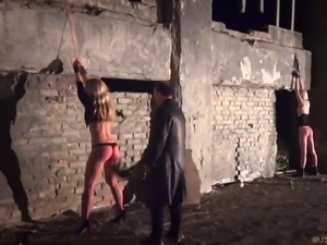 Two Slaves In Pain And Kinky Bondage Orgasm Cumshot