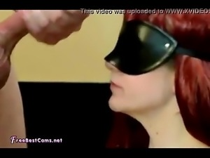 Sloppy blinfolded deepthroat for a teen