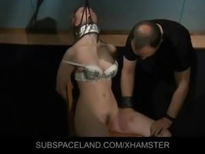 Slave big tits tied and trapped in the bdsm attic cage
