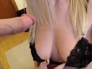 Ravishing blonde girlfriend loses her clothes and displays
