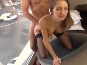 Anal fuck blowjob and cum in front of window