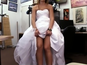 Hot blonde slut pawns her wedding dress and gets banged