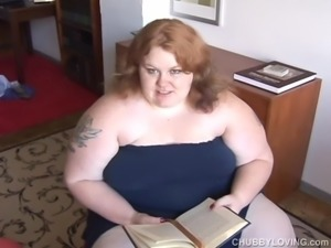 Raunchy chubby redhead loves to fuck her fat juicy pussy