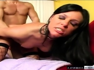 Ravishing brunette India Summer takes a fucking in fishnet stockings