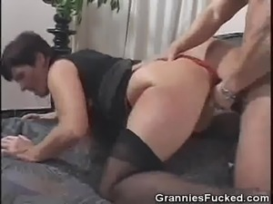 Doggy Style Fucked Hairy Pussy Granny
