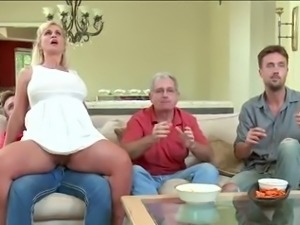 Milf gets secretly fucked in front of people