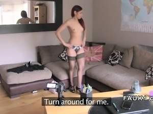 Petite redhead pussy banged in uk casting