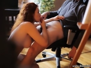 Redhead MILF knows how to give a sensual blowjob in this gorgeous CFNM video...