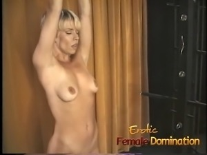 Blonde slave with a hot body dominated by a kinky milf