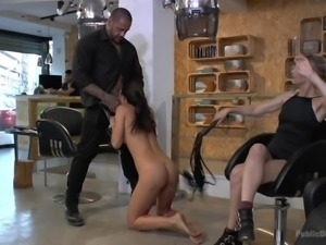 Carolina Abril wanted to be dominated, so she asked Mona to help her. Blonde...