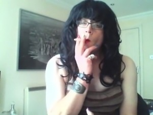 Master's Sissy Simone Smokes For His Pleasure