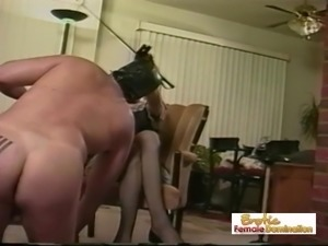 Masked Gimp Dominated By Mistress Nikki And Her Helper