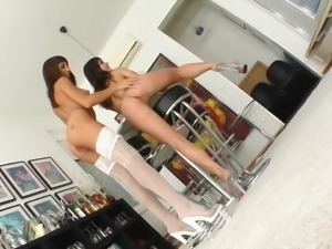 Jeny and her hot girlfriend Shanis, spread their ass cheeks, to show off...