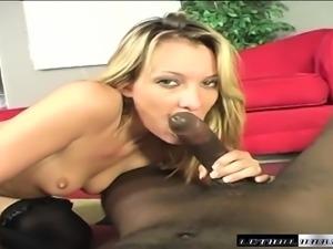 Long-legged blonde tart takes this bulging sausage in her mouth