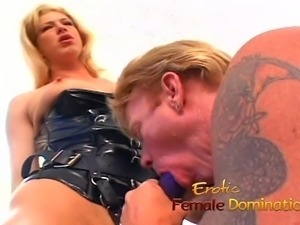 Horny slave makes his mature blonde mistress