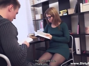 Enchanting young nympho with glasses is addicted to books and hot sex