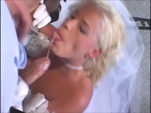 Young blonde bride babe fucks her groom and his best man