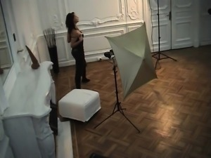 Slender dark-haired chick lets this dude film her while und