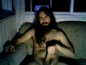 Longhaired hung stud jerks and cums on cam (minimal to no sounds)