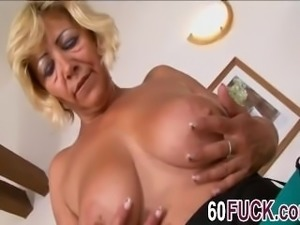 Horny blonde mature slut fucks nasty black guy