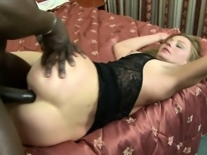 Sexy mature lady spreads her legs to let in a vicious black wang